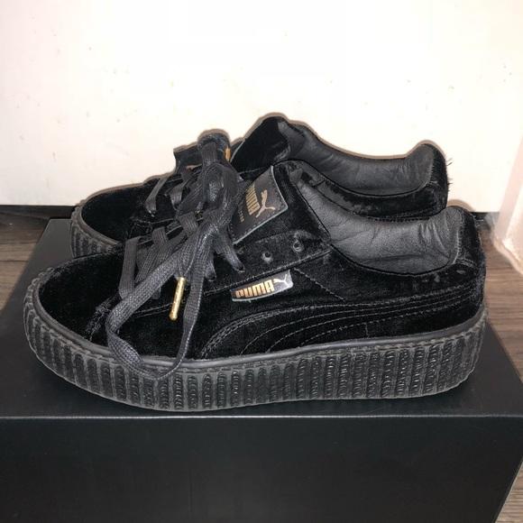 pretty nice 39f2d bac00 Rihanna Fenty Platform Pumas in Black Velvet